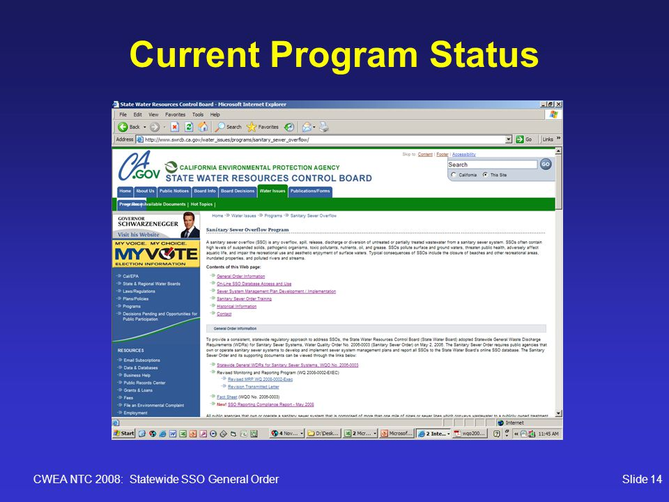 CWEA NTC 2008: Statewide SSO General OrderSlide 14 Current Program Status