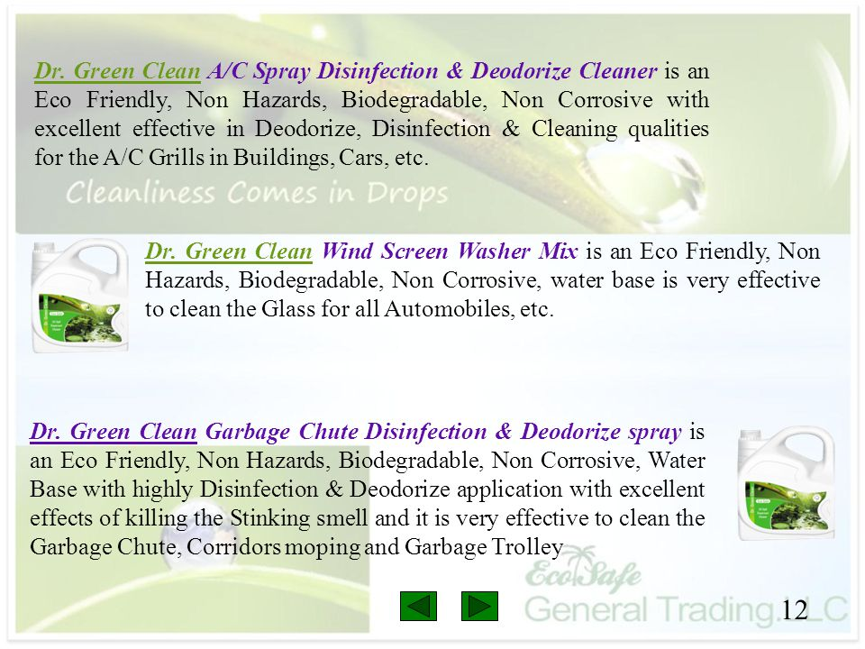 12 Dr. Green Clean A/C Spray Disinfection & Deodorize Cleaner is an Eco Friendly, Non Hazards, Biodegradable, Non Corrosive with excellent effective i