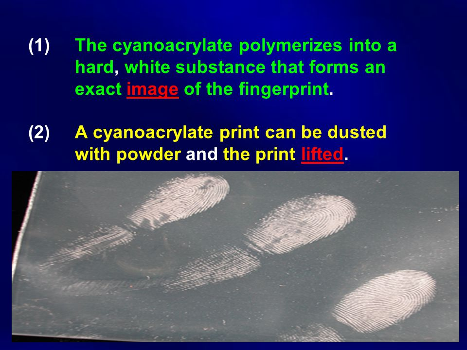 (1) The cyanoacrylate polymerizes into a hard, white substance that forms an exact image of the fingerprint. (2) A cyanoacrylate print can be dusted w