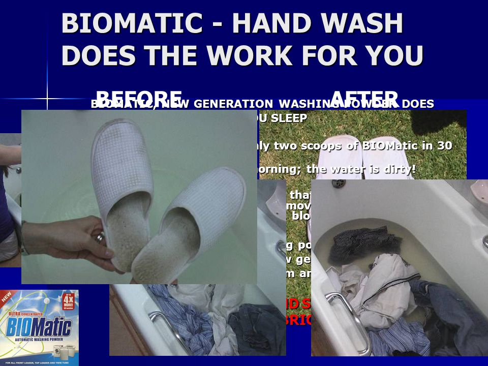 CARES FOR YOUR WASHING MACHINE WASHING MACHINE OUTER DRUM BEFORE BOIL OUT SCUM COLLECTED IN A SOCK DURING A BOIL OUT BIOMatic not only removes the scum from your drum.