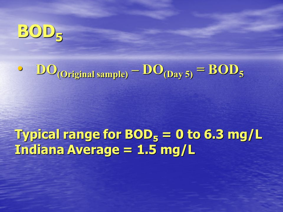 BOD 5 DO (Original sample) – DO (Day 5) = BOD 5 DO (Original sample) – DO (Day 5) = BOD 5 Typical range for BOD 5 = 0 to 6.3 mg/L Indiana Average = 1.
