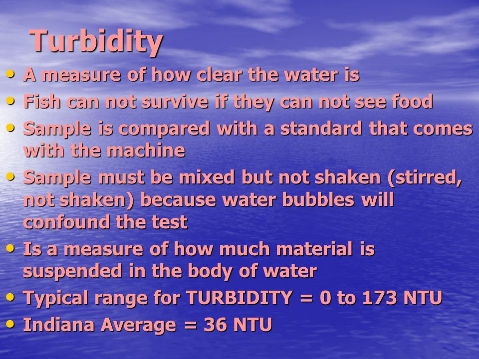 Turbidity A measure of how clear the water is A measure of how clear the water is Fish can not survive if they can not see food Fish can not survive i