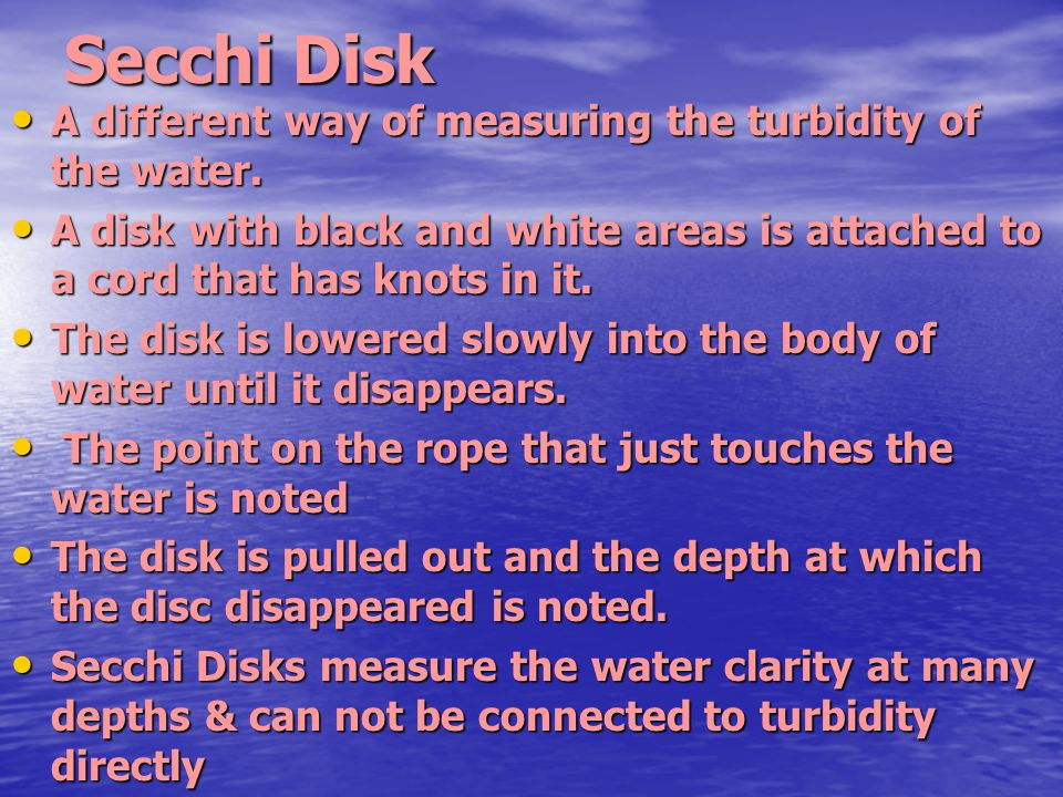 Secchi Disk A different way of measuring the turbidity of the water. A different way of measuring the turbidity of the water. A disk with black and wh
