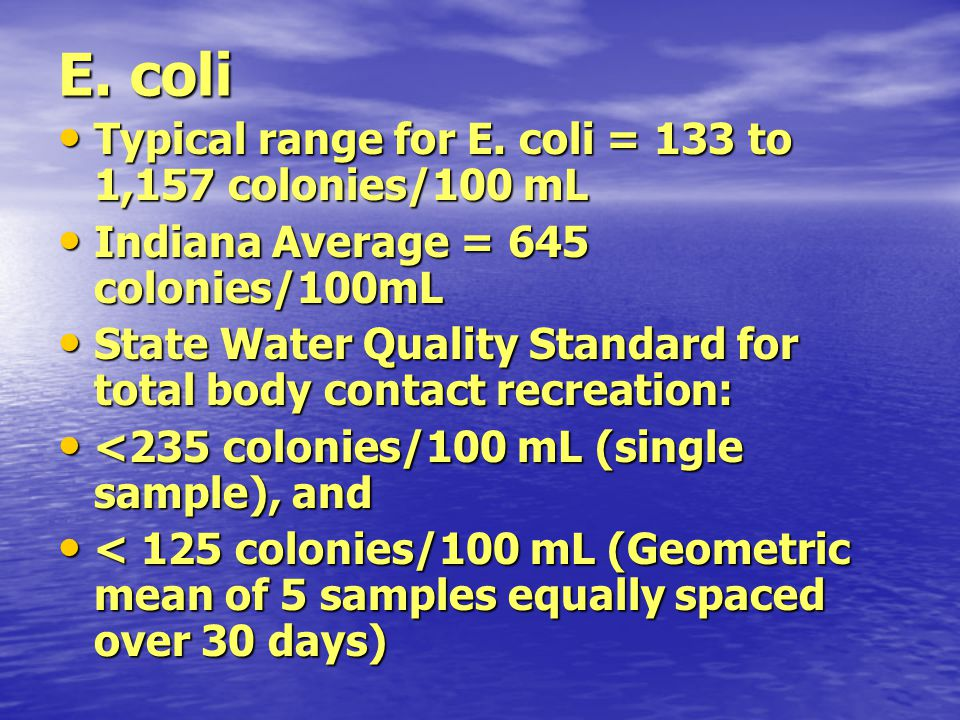 E. coli Typical range for E. coli = 133 to 1,157 colonies/100 mL Typical range for E. coli = 133 to 1,157 colonies/100 mL Indiana Average = 645 coloni