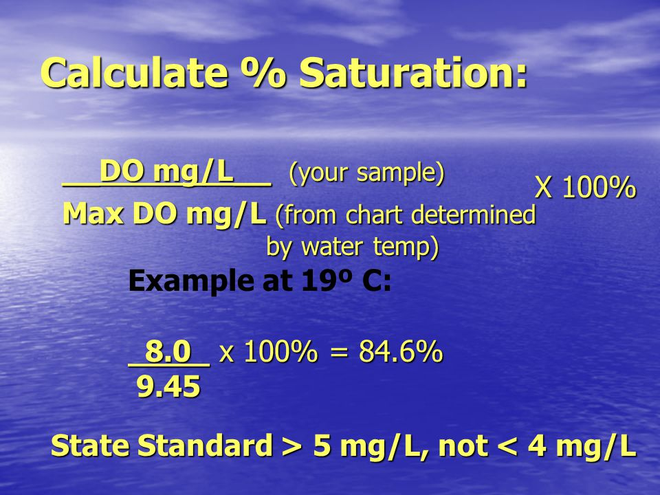 Calculate % Saturation: __DO mg/L__ (your sample) Max DO mg/L (from chart determined by water temp) X 100% Example at 19º C: 8.0 x 100% = 84.6% 8.0 x