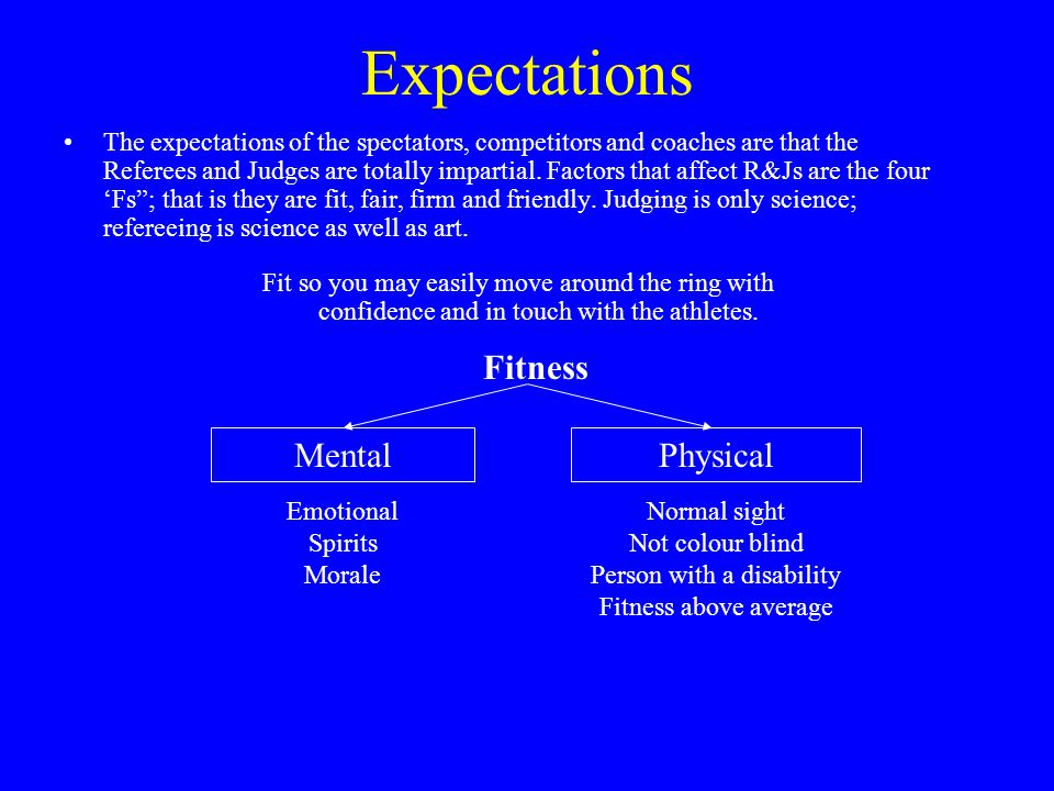 Expectations cont' Fairness Intention Fair minded Interpretation of rules Enforcing of rules Consistency Normally R&J are fair but may be affected by the following factors: InternalExternal Reputation of boxer & country Friends Team officials Fair so that it is openly apparent there is no favouritism
