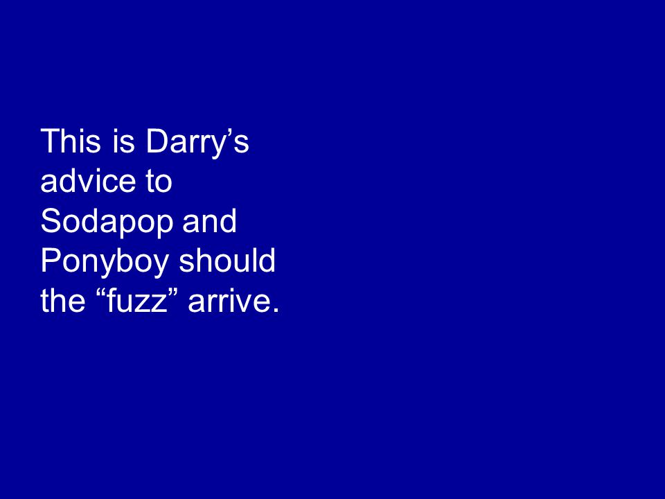 This is Darry's advice to Sodapop and Ponyboy should the fuzz arrive.