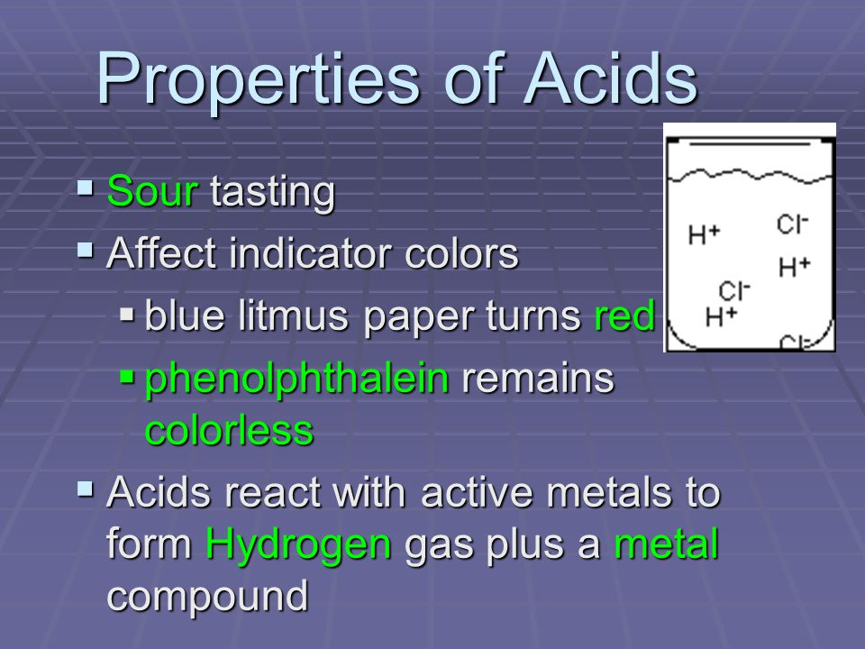 Properties of Acids  Sour tasting  Affect indicator colors  blue litmus paper turns red  phenolphthalein remains colorless  Acids react with active metals to form Hydrogen gas plus a metal compound