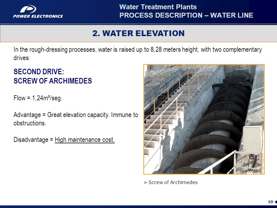 10 2. WATER ELEVATION » Screw of Archimedes In the rough-dressing processes, water is raised up to 8,28 meters height, with two complementary drives: