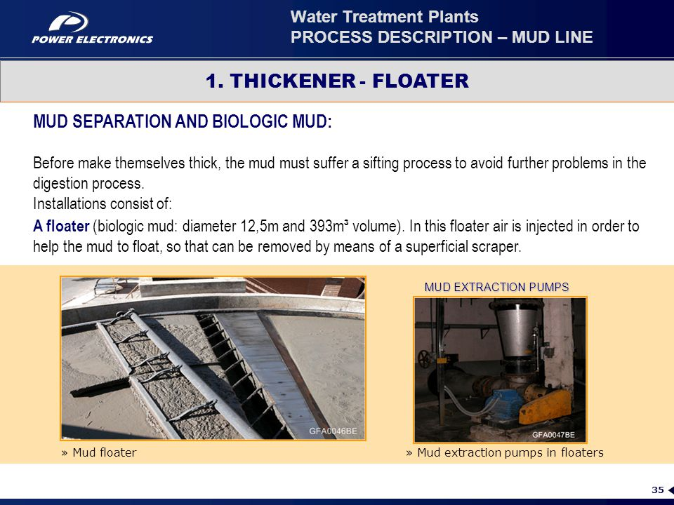 35 1. THICKENER - FLOATER MUD EXTRACTION PUMPS MUD SEPARATION AND BIOLOGIC MUD: Before make themselves thick, the mud must suffer a sifting process to