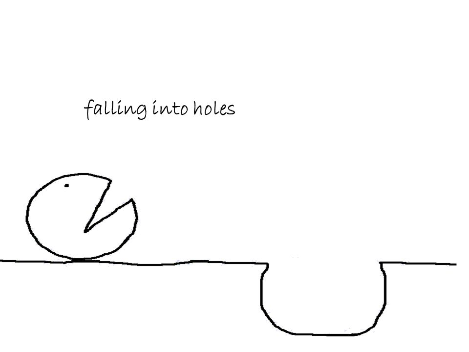 falling into holes