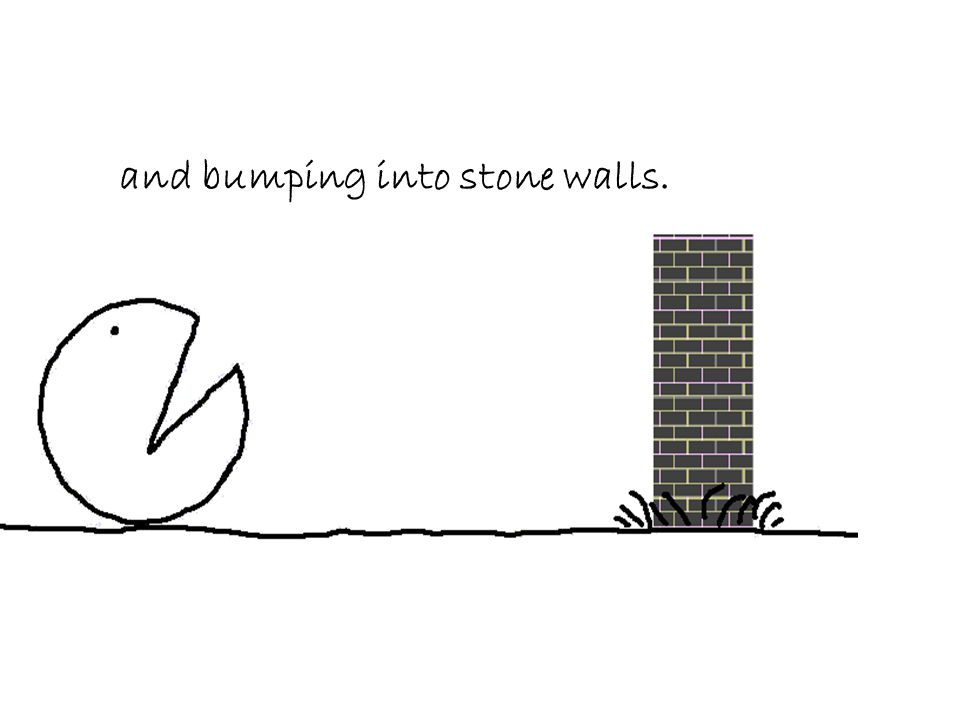 and bumping into stone walls.