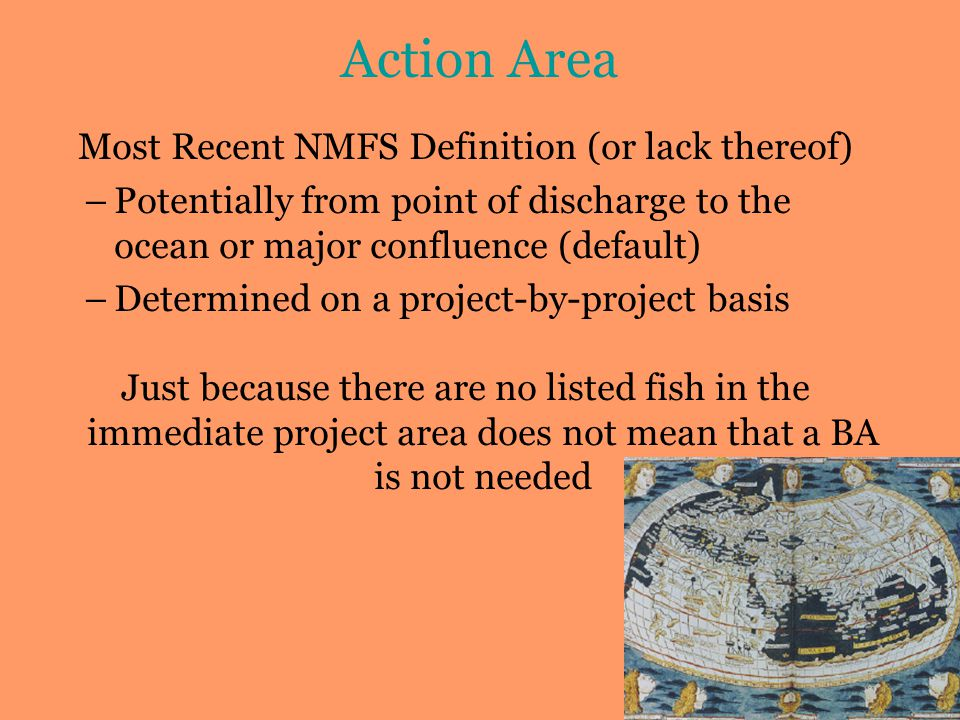 Action Area Most Recent NMFS Definition (or lack thereof) –Potentially from point of discharge to the ocean or major confluence (default) –Determined on a project-by-project basis Just because there are no listed fish in the immediate project area does not mean that a BA is not needed