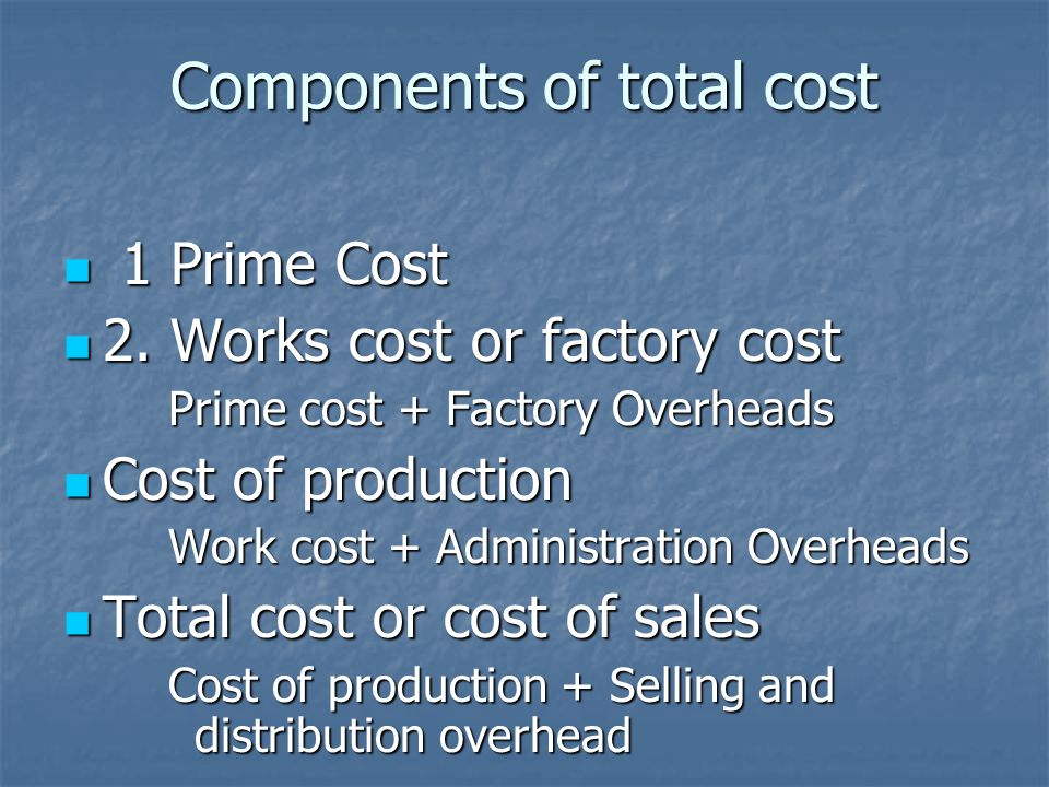 Components of total cost 1 Prime Cost 1 Prime Cost 2.
