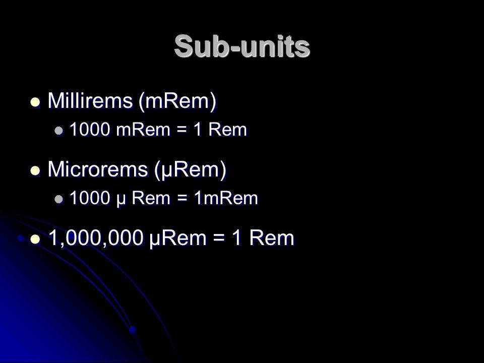 Sub-units Millirems (mRem) Millirems (mRem) 1000 mRem = 1 Rem 1000 mRem = 1 Rem Microrems (µRem) Microrems (µRem) 1000 µ Rem = 1mRem 1000 µ Rem = 1mRe