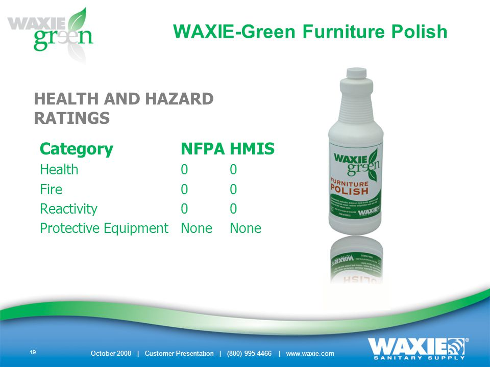 October 2008 | Customer Presentation | (800) 995-4466 | www.waxie.com 19 HEALTH AND HAZARD RATINGS CategoryNFPAHMIS Health00 Fire00 Reactivity00 Protective EquipmentNoneNone WAXIE-Green Furniture Polish