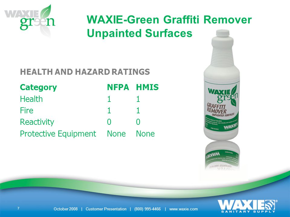 October 2008 | Customer Presentation | (800) 995-4466 | www.waxie.com 8 ITEM DESCRIPTION –410243 qt/cs 6/cs 2 trigger sprayers included ADDITIONAL INFORMATION –Click here to download the WAXIE-Green Graffiti Remover – Unpainted Surfaces packet that includes:Click here – PDF brochure – MSDS WAXIE-Green Graffiti Remover Unpainted Surfaces