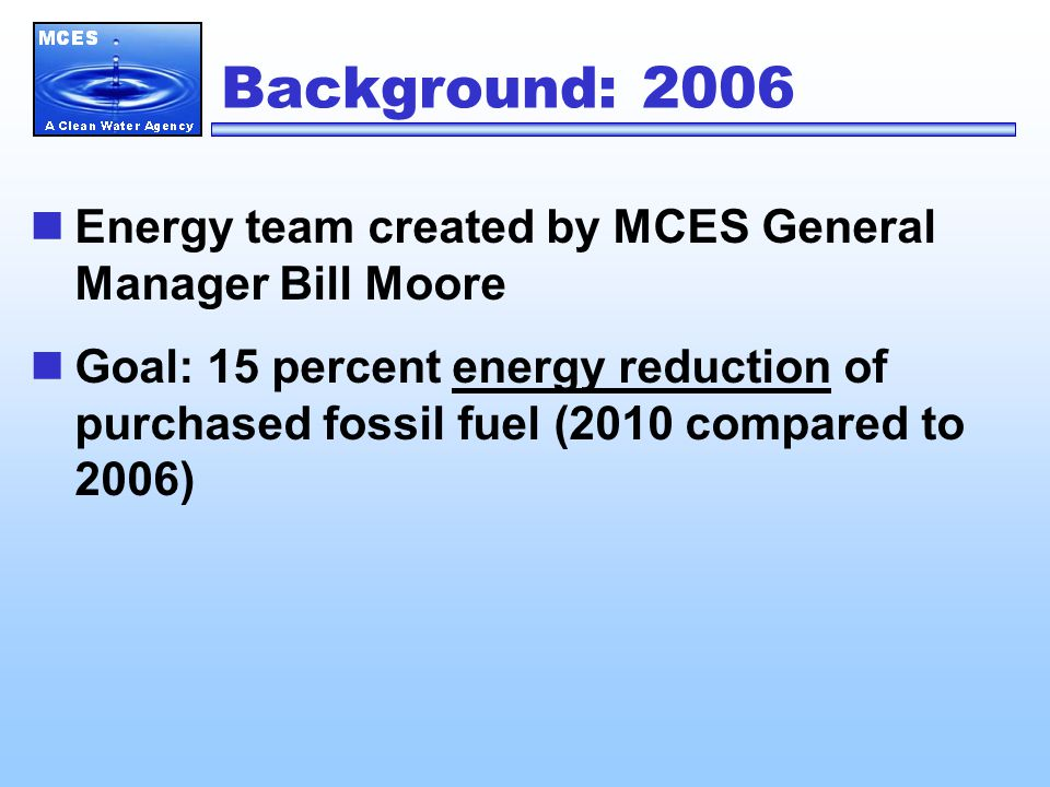 4. Energy Cost Savings and Financial Issues MCES spent $17 million on energy in 2008.