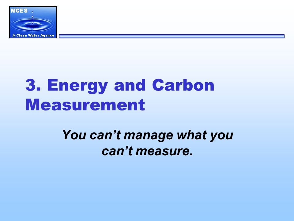 3. Energy and Carbon Measurement You can't manage what you can't measure.