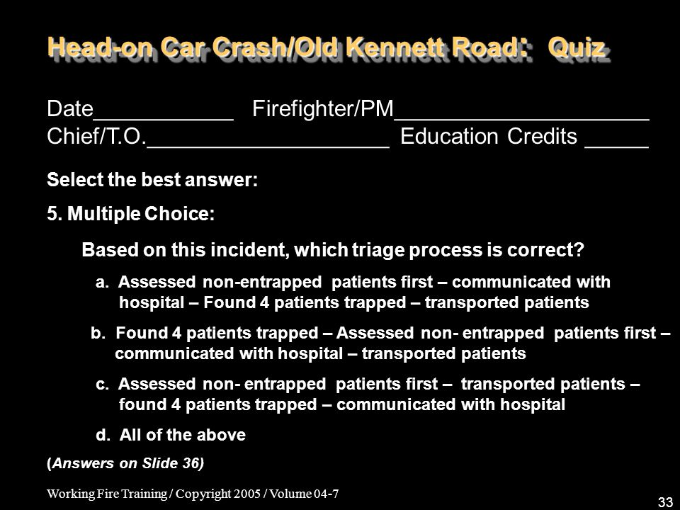 Working Fire Training / Copyright 2005 / Volume 04-7 33 Head-on Car Crash/Old Kennett Road : Quiz Date___________ Firefighter/PM____________________ Chief/T.O.___________________ Education Credits _____ Select the best answer: 5.