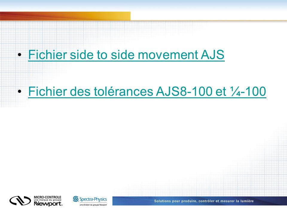 Fichier side to side movement AJS Fichier des tolérances AJS8-100 et ¼-100