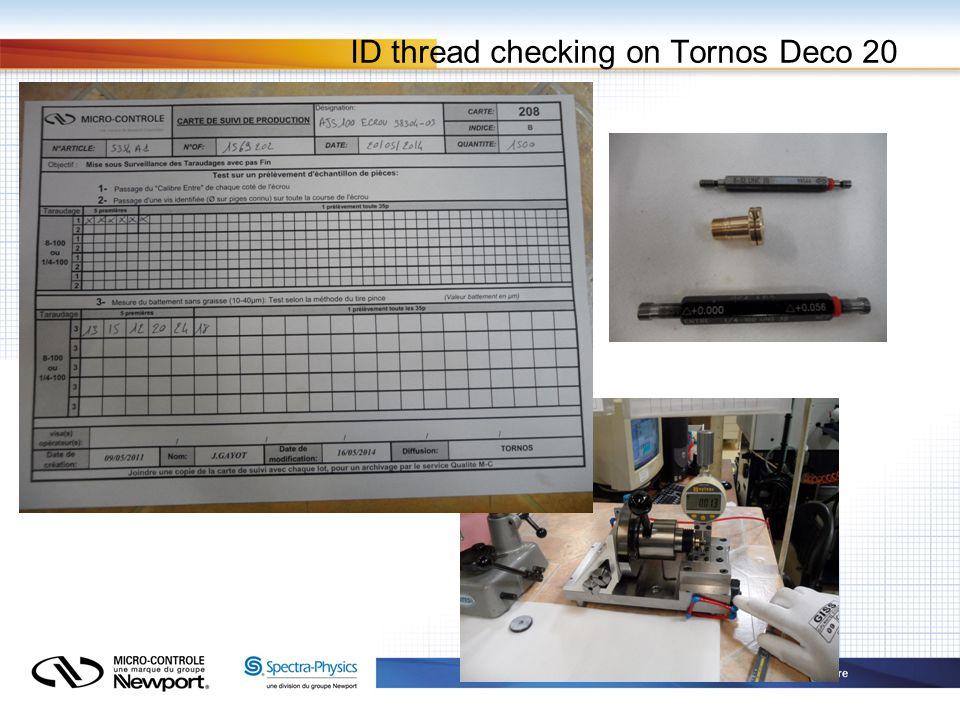 ID thread checking on Tornos Deco 20
