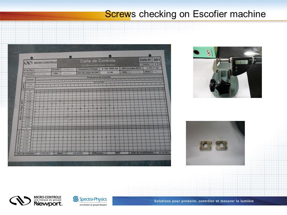 Screws checking on Escofier machine