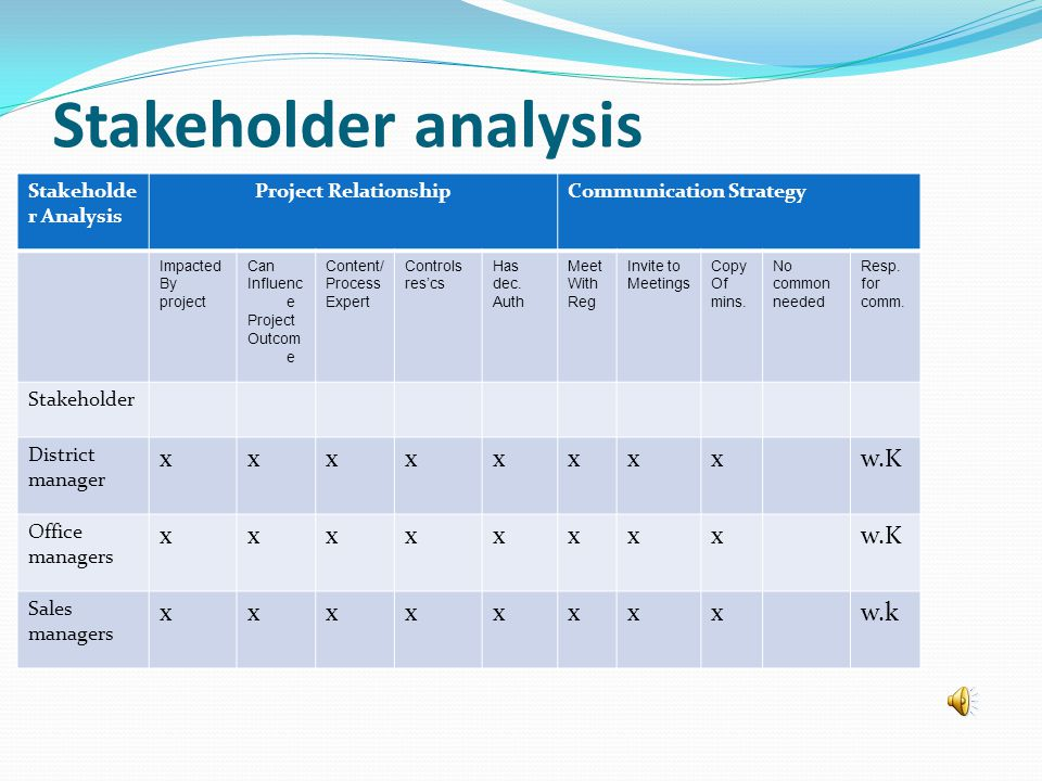 Stakeholder analysis Stakeholde r Analysis Project RelationshipCommunication Strategy Impacted By project Can Influenc e Project Outcom e Content/ Process Expert Controls res'cs Has dec.