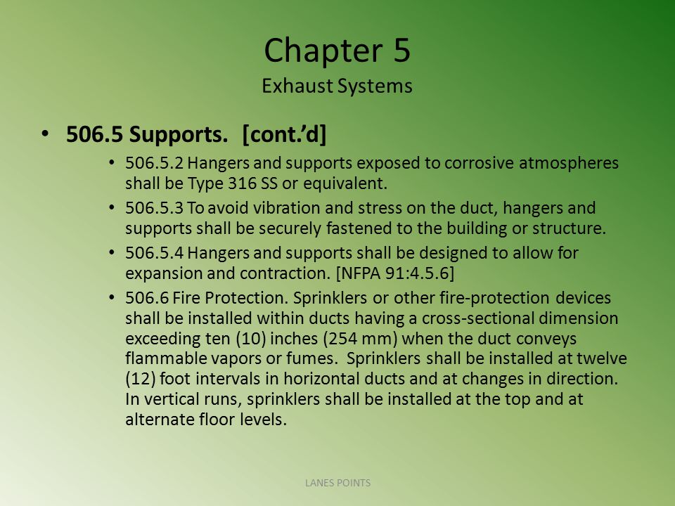Chapter 5 Exhaust Systems 506.5 Supports. [cont.'d] 506.5.2 Hangers and supports exposed to corrosive atmospheres shall be Type 316 SS or equivalent.