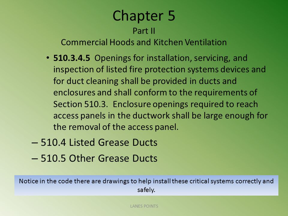 Chapter 5 Part II Commercial Hoods and Kitchen Ventilation 510.3.4.5 Openings for installation, servicing, and inspection of listed fire protection sy