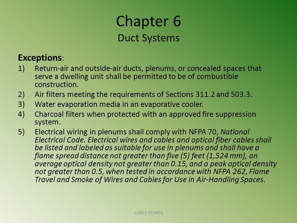 Chapter 6 Duct Systems Exceptions : 1)Return-air and outside-air ducts, plenums, or concealed spaces that serve a dwelling unit shall be permitted to