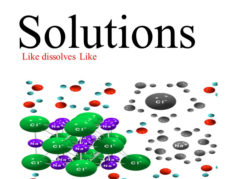 Solutions Like dissolves Like