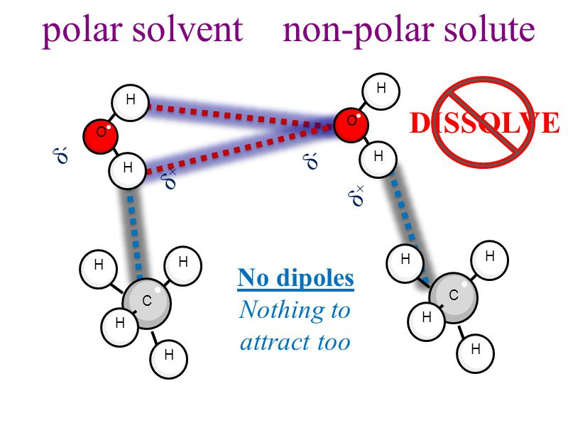 polar solvent non-polar solute H O H H O H δ-δ- δ+δ+ δ-δ- δ+δ+ C H H H H C H H H H DISSOLVE No dipoles Nothing to attract too