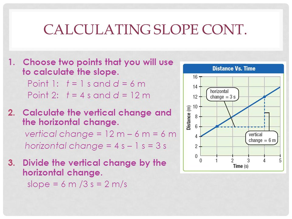 CALCULATING SLOPE CONT. 1. Choose two points that you will use to calculate the slope. Point 1:t = 1 s and d = 6 m Point 2:t = 4 s and d = 12 m 2.Calc