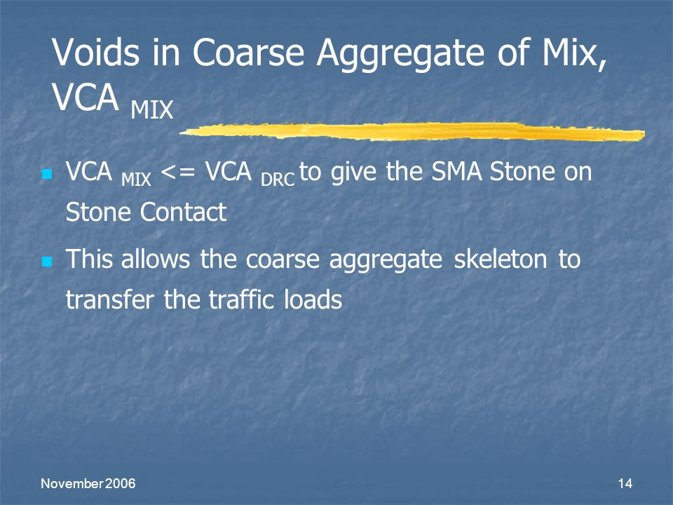 November 200614 Voids in Coarse Aggregate of Mix, VCA MIX VCA MIX <= VCA DRC to give the SMA Stone on Stone Contact This allows the coarse aggregate s