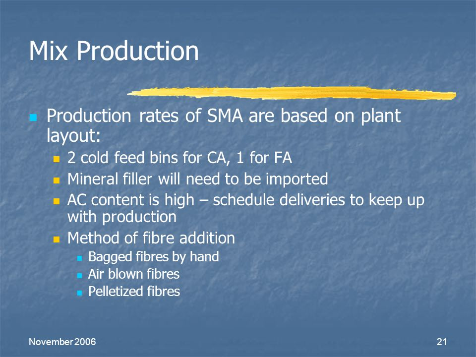 November 200621 Mix Production Production rates of SMA are based on plant layout: 2 cold feed bins for CA, 1 for FA Mineral filler will need to be imp
