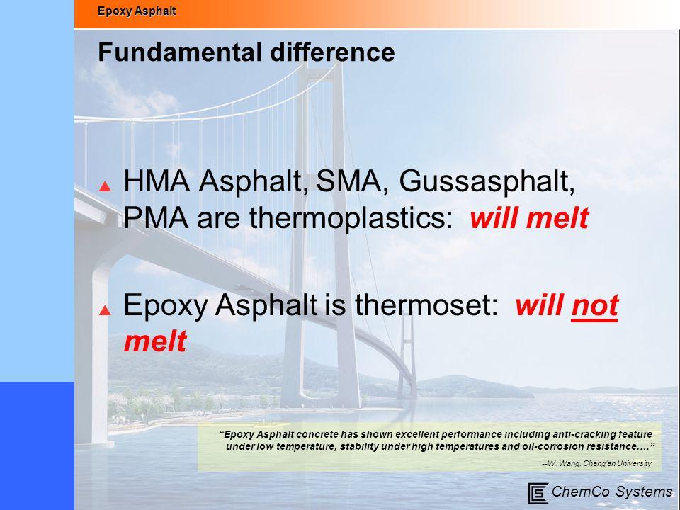 Epoxy Asphalt ChemCo Systems Fundamental difference  HMA Asphalt, SMA, Gussasphalt, PMA are thermoplastics: will melt  Epoxy Asphalt is thermoset: w