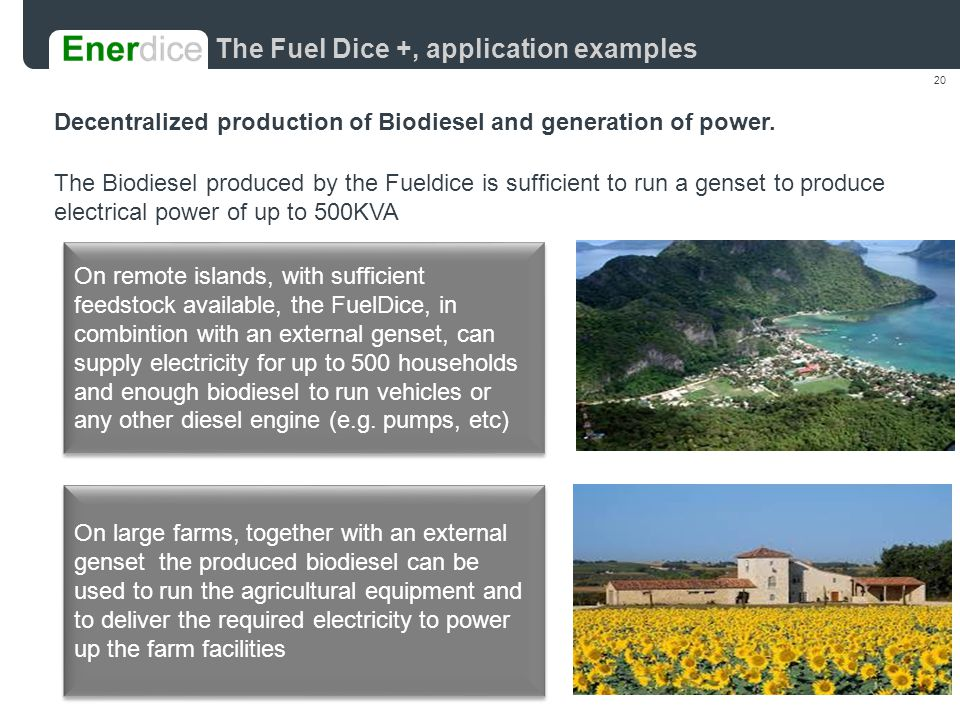 20 Decentralized production of Biodiesel and generation of power.
