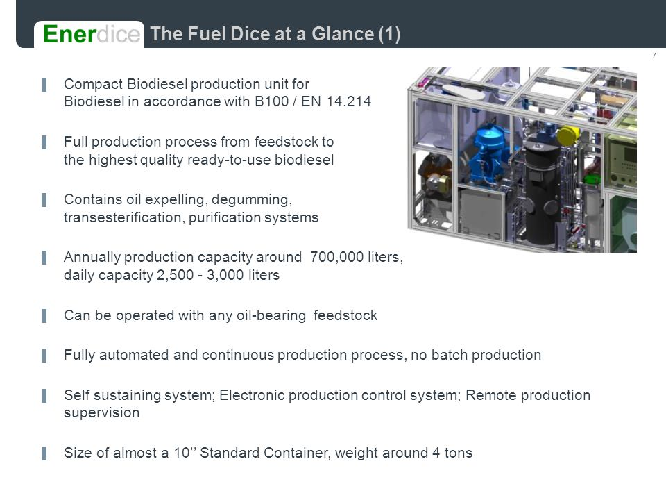 18 The Fuel Dice, competitive advantages An Affordable Solution Industrial Production on Short Term
