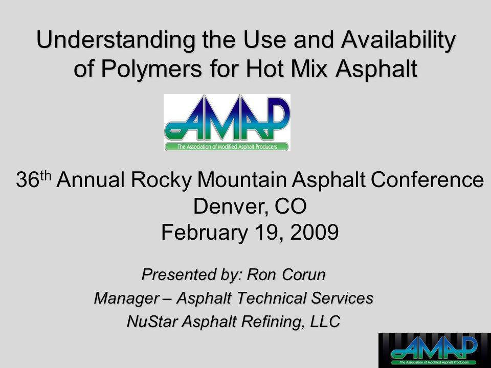Acknowledgements Polymer Supply Information –De Witt & Company –Tom Brewer