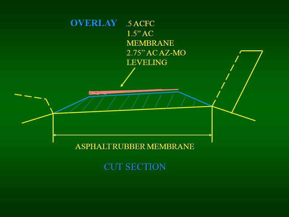 "OVERLAY.5 ACFC 1.5"" AC 1.5"" AC MEMBRANE MEMBRANE 2.75"" AC AZ-MO 2.75"" AC AZ-MO LEVELING LEVELING ASPHALT RUBBER MEMBRANE CUT SECTION"