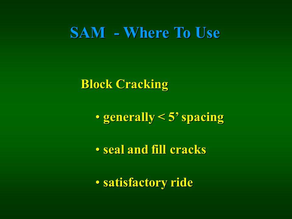 SAM - Where To Use Block Cracking generally < 5' spacing generally < 5' spacing seal and fill cracks seal and fill cracks satisfactory ride satisfacto