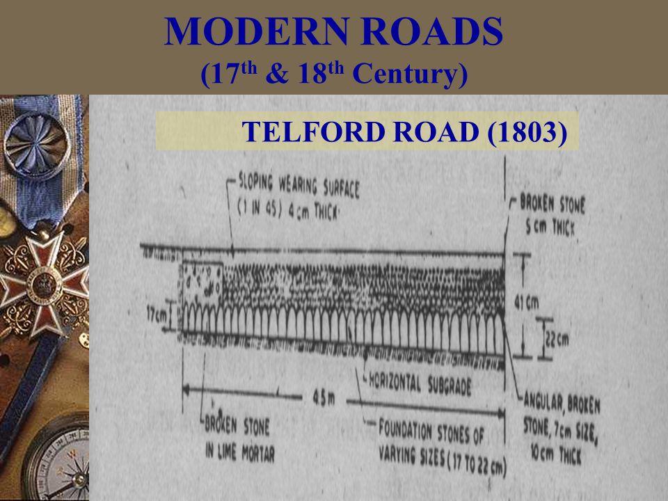 TELFORD ROAD (1803) MODERN ROADS (17 th & 18 th Century)