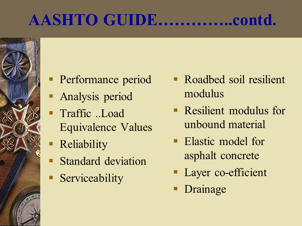 AASHTO GUIDE…………..contd.
