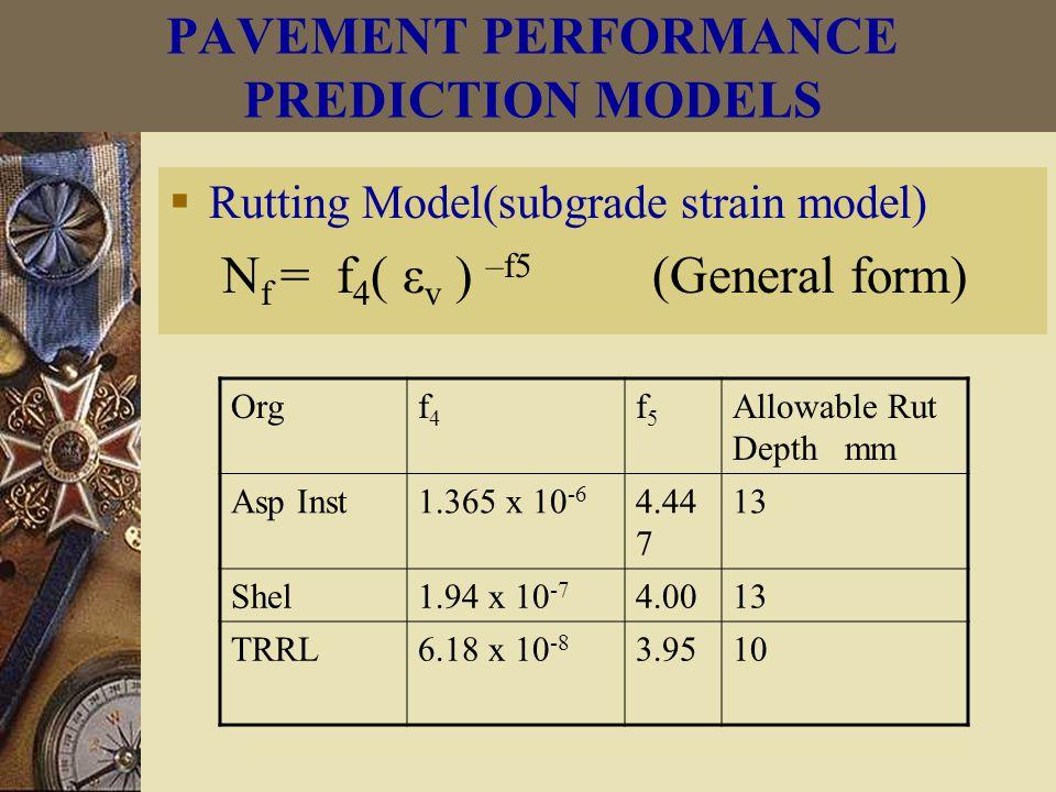 Orgf4f4 f5f5 Allowable Rut Depth mm Asp Inst1.365 x 10 -6 4.44 7 13 Shel1.94 x 10 -7 4.0013 TRRL6.18 x 10 -8 3.9510  Rutting Model(subgrade strain model) N f = f 4 ( ε v ) –f5 (General form)