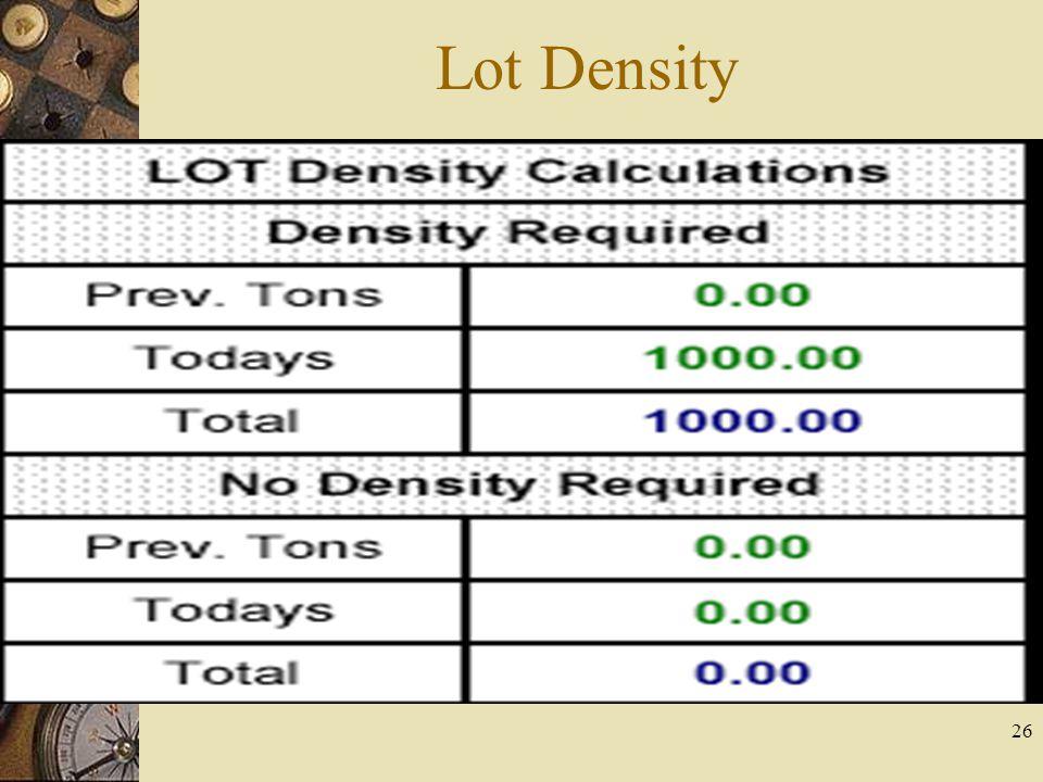 26 Lot Density