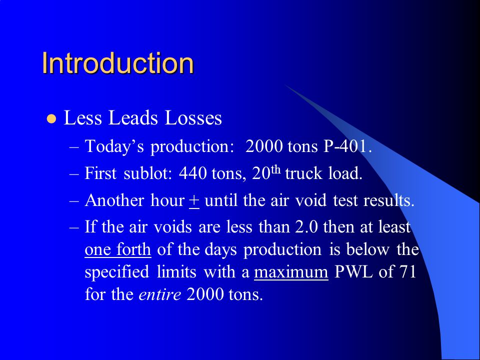 Introduction Less Leads Losses –Today's production: 2000 tons P-401.