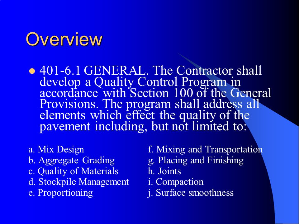 Overview 401 ‑ 6.1 GENERAL.