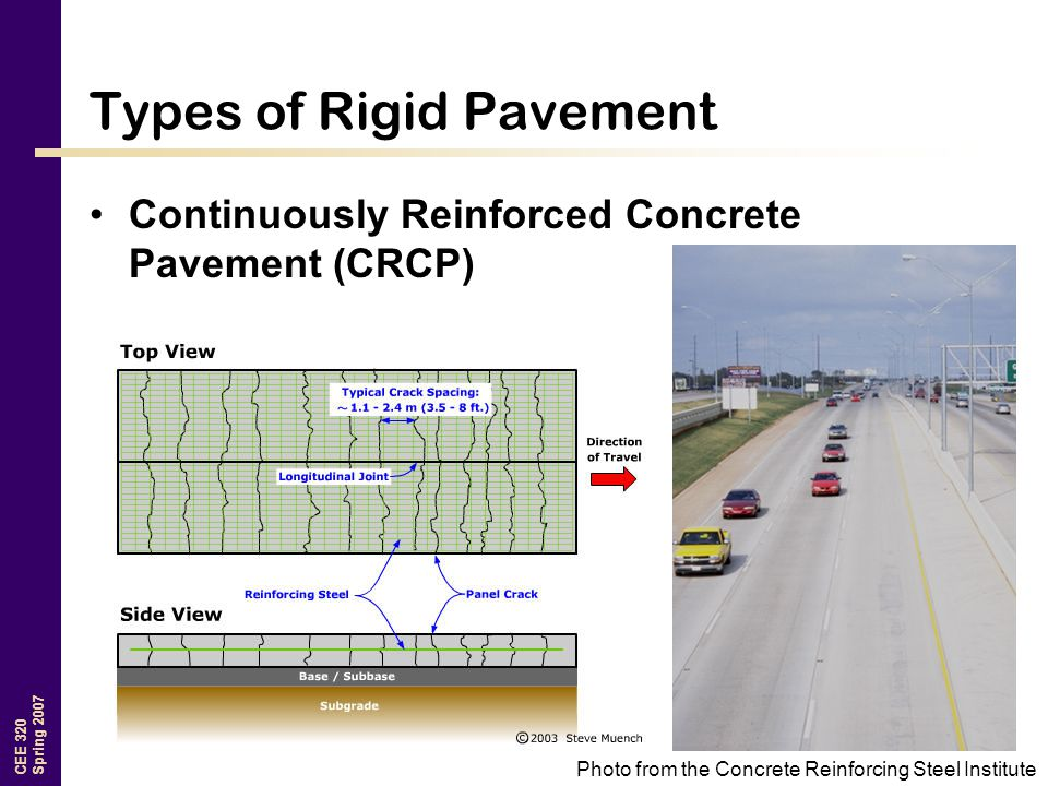 CEE 320 Spring 2007 Types of Rigid Pavement Continuously Reinforced Concrete Pavement (CRCP) Photo from the Concrete Reinforcing Steel Institute
