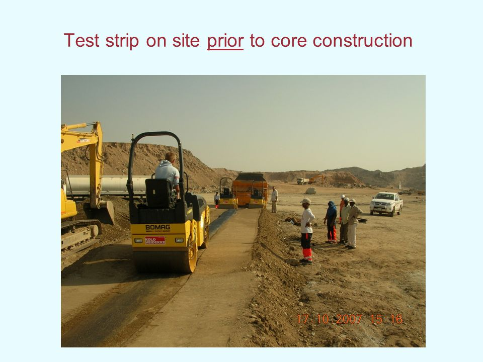 Test strip on site prior to core construction